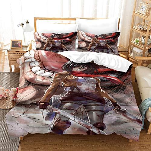 Tres piezas de funda de edredón for el ataque en Titán Mikasa.Ackerman vence a los gigantes, animado 3D edredón funda de almohada, 100% poliéster, suave y cómodo, ropa de cama for Otaku del animado y