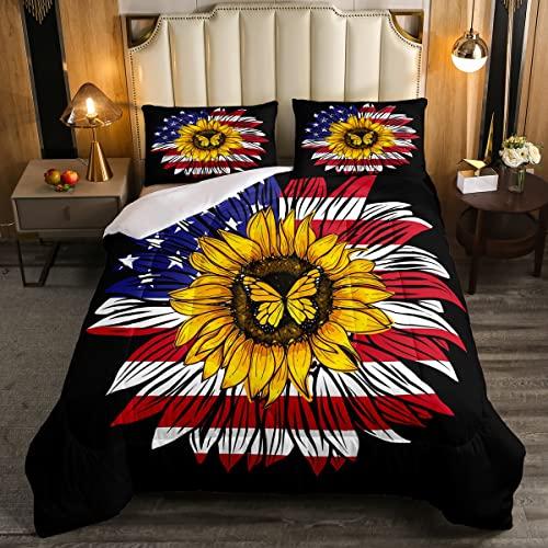 Juego de edredón de bandera americana de tamaño doble, edredón creativo con estampado de mariposas de girasol, juego de edredón de plumón de planta botánica para decoración de dormitorio, multicolor