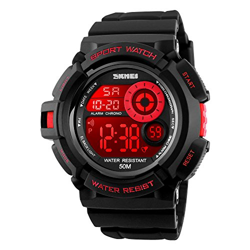 Boy's Digital Watch Red Sports Seven Colors EL Light Alarm LED Backlight Stopwatch Waterproof