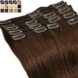 Extensions a Clip Cheveux Naturel Rajout Cheveux Naturel Châtain - 100% Remy Hair 8...