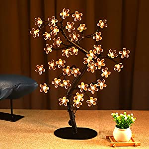 Bolylight Cherry Blossom Tree Lamp 1.5ft Artificial Flower Tree with 40 LED Table Top Lamp Home Lit Tree Remote Control for Party Centerpieces Decoration USB Warm White