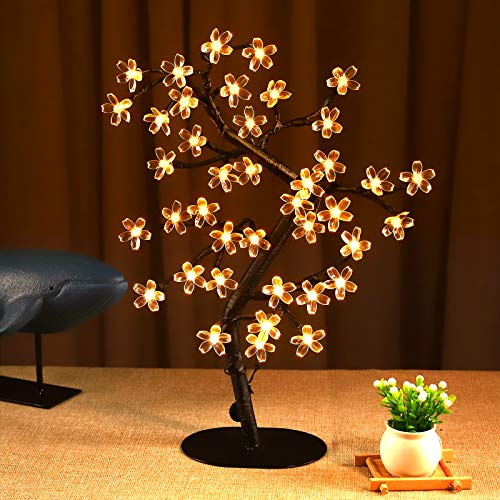 Bolylight Cherry Blossom Tree Lamp Table Decoration 17in Artificial Tree with 40 LED Lights USB Operated for Bedroom Party Wedding Office Home Warm White