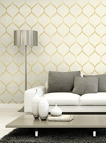 Ogee Wallpaper. (Beige & Gold)