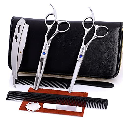JIARUN Sistemas Profesionales de Las Tijeras de barbero, Tijeras de Dientes de Corte Plano Combo de Afeitar para peluqueros (6.0 Pulgadas)