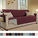Gorilla Grip Original Slip Resistant X-Large Oversized Sofa Protector, Seat Width to 78 Inch, Patent Pending Suede-Like Furniture Slipcover, 2 Inch Straps, Couch Slip Cover Throw for Dog, Sofa, Merlot
