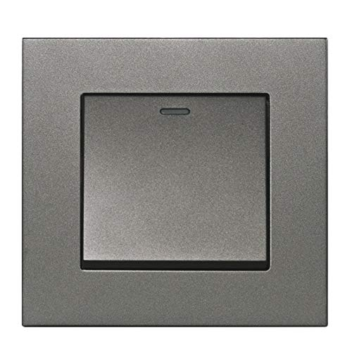 Interruptor Pared 2 PCS Simple Style PC Panel 1 GANG 2 WAY PASS A TRAVÉS DEL INTERRUPADO DE LA LUZ EN EL INTERRUPTOR CAMBIO CAMPO DE LA PARED COMPECTOR AC 12-250V Interruptor Doble ( Color : Gray )
