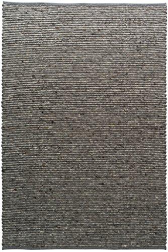 TISCA Teppich aus Schurwolle LIV anthrazit (Verschiedene Größen) 90 x 170 cm
