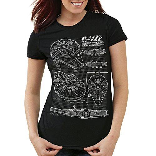 style3 Millennium Falcon T-Shirt da Donna Cianografia, Colore:Nero, Dimensione:M