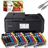 Canon PIXMA TR8550 Tintenstrahldrucker Multifunktionsgerät schwarz (Drucker, Scanner, Kopierer, Fax) + USB Kabel & 20 komp. realink Druckerpatronen
