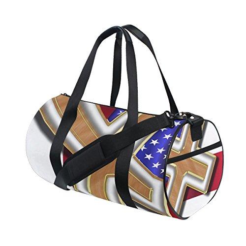 Ahomy Reisetasche mit amerikanischer Flagge, rotes Kreuz, Sporttasche, Reisetasche, Wochenendtasche, Reisetasche