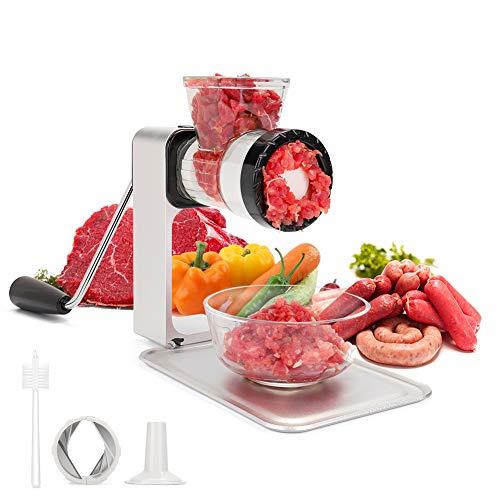 SAMEBOO Picadora de Carne Manual Máquina de Picar Carne Verduras Embutidora de Salchichas con Bandeja de Descongelación Acero Inoxidable Multifuncional Aparato de Cocina Doméstico y Profesional