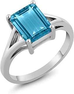 Sterling Silver Swiss Blue Topaz Women's Engagement Ring Emerald Cut Gemstone Birthstone 3.20 Cttw Available 5,6,7,8,9)