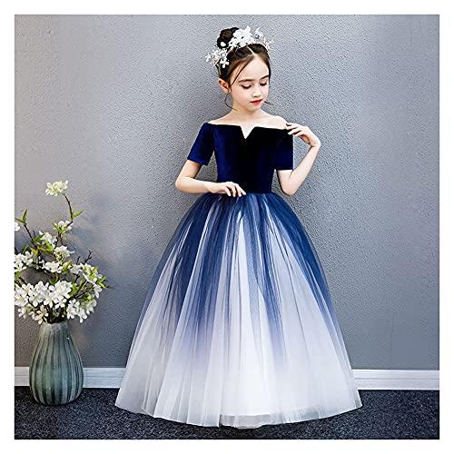 Snow scene Petite Fille Enfant Robe de mariée Fille Girl cactwalk Robe de soirée Robe Princesse (Color : Dark Blue, Size : 90cm)