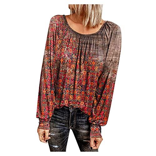 Pistaz Camiseta de manga larga para mujer con estampado de flores pequeñas, informal, cuello redondo, estilo antiguo, manga larga, color rojo, azul y naranja, rojo, 44