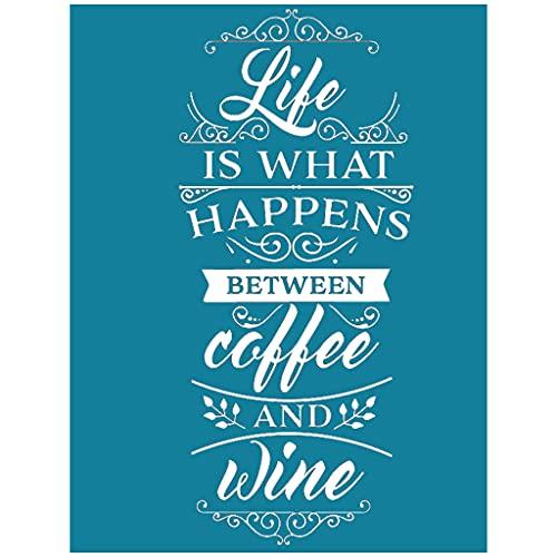 SHURROW La Vida es lo Que Pasa Entre el café y el Vino Plantilla de Pantalla de serigrafía autoadhesiva Nylon