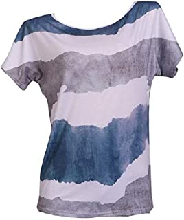 WSJTT Women's Solid Loose Short Sleeve V Neck Top Side Split High Low Hem Women's T-Shirt Fashion Casual Women Short Sleev...