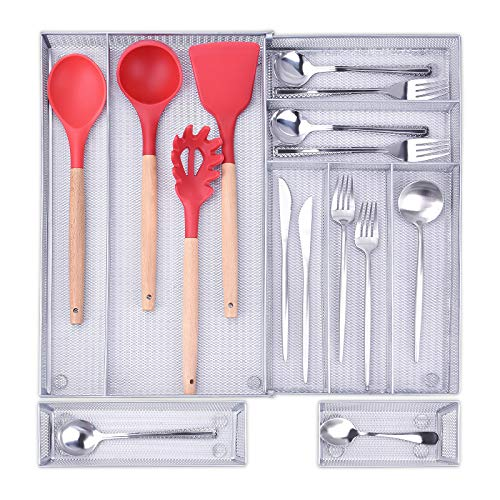 Expandable Cutlery Tray Organiser 9 Compartments, Kitchen Utensil Drawer...