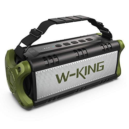 50W(70W Peak) Wireless Bluetooth Speakers Built-in 8000mAh Battery Power Bank W-King Outdoor Portable Waterproof TWS NFC Speaker Powerful Rich Bass Loud Stereo Sound (Green)