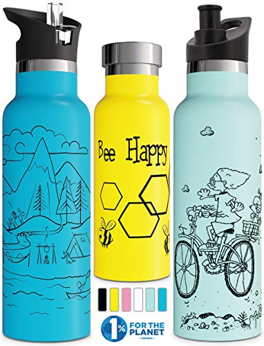 Double Walled Insulated Water Bottle with Drinking Straw Lid and Sports Closure | Children's Stainless Steel Metal Thermos | BPA Free, Environmentally Friendly, Leak Free (Mint 500 ml)