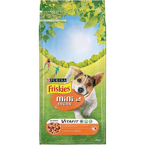 FRISKIES Chien - Vitafit Mini Menu - au Poulet et Légumes Ajoutés - 2 kg - Croquettes pour Chien Adulte de Petite Taille - Lot de 6