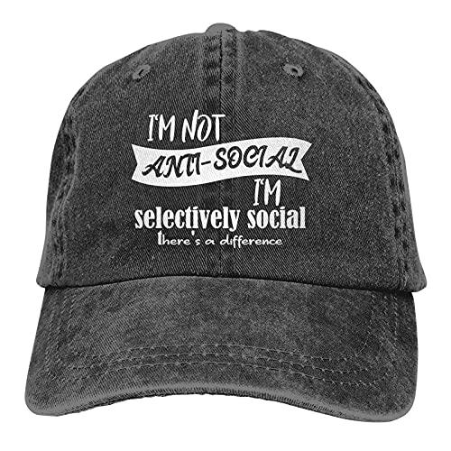Dyfcnaiehrgrf I Am Not Anti-Social I Am Selectivamente Social Gorras De Béisbol Unisex Suave Casquette Cap Moda Sombrero Vintage Ajustable Negro