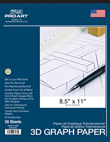 PRO ART Graph Paper Pad, 8-1/2-inch x 11-inch, 50 Sheet Tape Bound, White/Blue