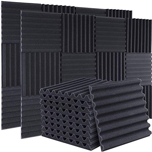 """50 Packs Acoustic Foam Panels Sound Proof Padding,1"""" X 12"""" X 12"""" Studio Foam High Density Sound Absorbing Dampening Foam Soundproofing Foam Useful for Home & Studio Sound Insulation (Arc Shaped)"""