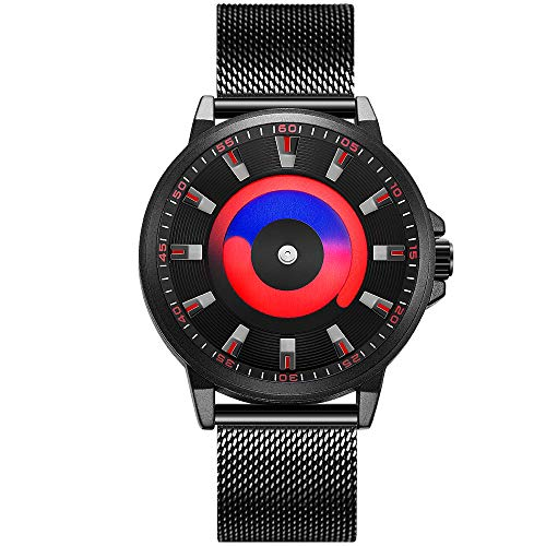 SINOBI Orologi da uomo al quarzo moda Orologi in acciaio inossidabile impermeabili per le imprese (BLACK/RED-MESH BAND)