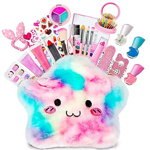 HOMCENT Kinder Schminkset für Mädchen, Waschbares Kosmetik-Set, Make-up-Spielzeug für Kinder 4 5 6 7 8 9 10 Jahre alt