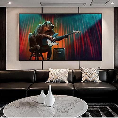 5D DIY Adulto Niños Talla Grande Pintura de Diamante Kit Guitarra mono Diamond Painting Full Drill Rhinestone Bordado Punto de Cruz Arte para Decoración de la Pared del Hogar Round Drill 60x12