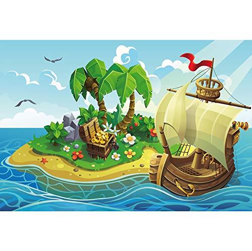 Leowefowa 2,2x1,5m Vinilo Mar Telon de Fondo Barco Pirata Islas Tropicales Palmeras Cofre del Tesoro Fondos para Fotografia Party Infantil Photo Studio Props Photo Booth