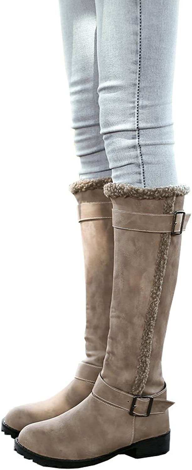 Caddy Wolfclaw Women Classic Warm Fur Snow Boots Low Heel Buckle Knee High Boots Riding Comfortable Boots