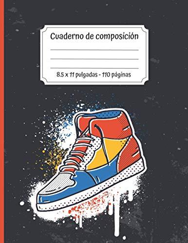 Cuaderno de composición - 8.5 x 11 pulgadas - 110 páginas: Tema de zapatillas