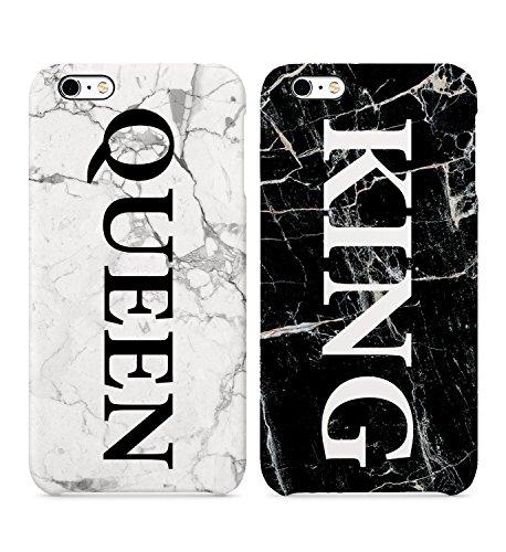 King Queen - Carcasa rígida para iPhone 6, 6S, 7, 7Plus, 8X, diseño de mármol blanco y negro