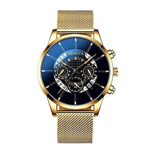 Herren Quarzuhr Mode Cool Einzigartige Digitale Literal Mehrschicht Zifferblatt Herrenuhr Mesh Gürtel Uhr Analog Quartz Wrist Watch, B
