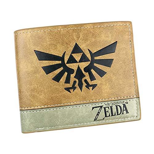 WANHONGYUE The Legend of Zelda Spiel Kunstleder Geldbörse Kurze Brieftasche Bifold Kartenhüllen Herrenbörse