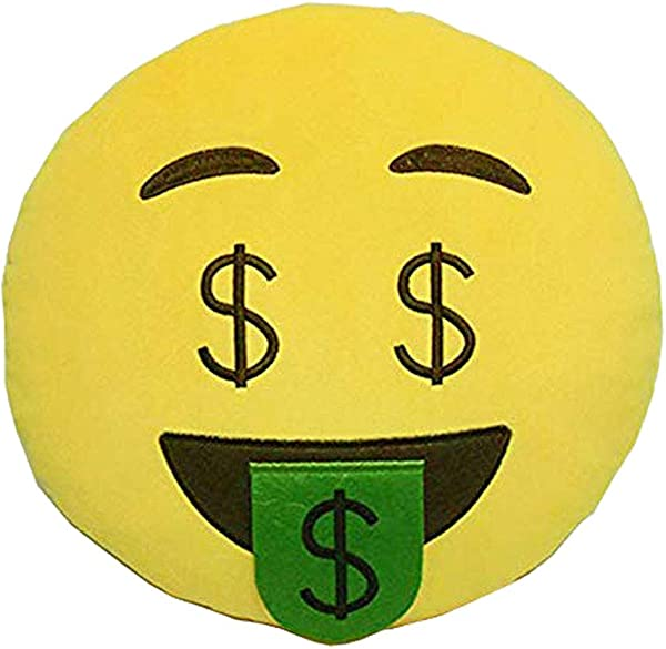 GCA 1 X Ciamlir Soft Emoji Smiley Emoticon Yellow Round Cushion Pillow Stuffed Plush Toy Doll NERD FACE MONEY MOUTH