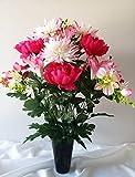 Composition de fleurs artificielles en cône lesté ciment pour une parfaite tenue de votre bouquet de fleurs, plus besoin de sable, ce vase en PVC se dépose dans un vase funéraire. (Rose)