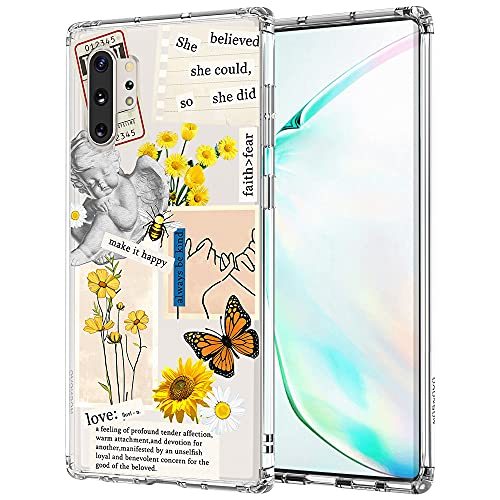 MOSNOVO Case for Samsung Galaxy Note 10 Plus, Vintage Collage Sunflower Butterfly Slim Clear Case Design with Shockproof TPU Bumper Protective Cover Case for Women Girls