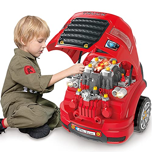 iPlay, iLearn Large Truck Engine Toy, Kids Engineering Mechanic Toys, Big Truck Head Repair Playset W/ Light Sound, Take Apart Workshop, Car Station Fix Set, Gifts for 3 4 5 6 7 8 Year Old Boy Toddler