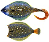 Westin Flat Matt Jig 85g 13cm - 1 Jighaken + 2 Gummifische, Farbe:Peacock Flounder