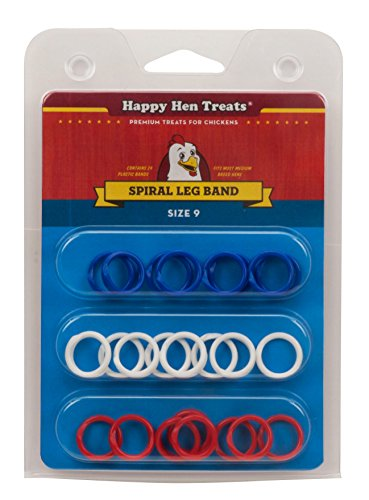 Happy Hen Treats Spiral Leg Bands for Pets Toy No Tools Required Size 9 3Pack