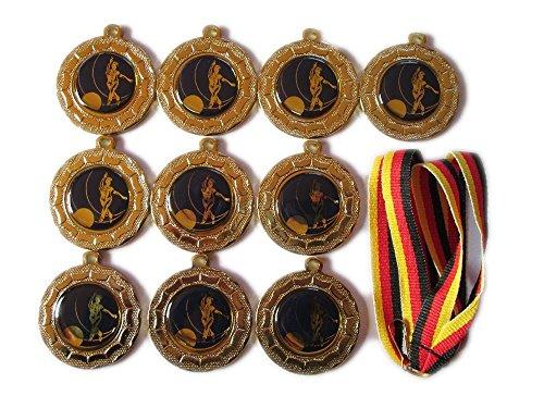 10 Bowling-Medaillen mit blauen Emblemen, Deutschland Bänder und 3 Bowling-Stickern