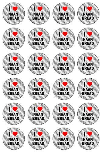 AK Giftshop Ik hou van Naan Brood - 24 Eetbare Cupcake Toppers Taart Decoraties - Gemakkelijk Precut Cirkels