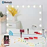 Fenair Makeup Mirror with Lights and Bluetooth Speaker Support Answer Call Hollywood Vanity Mirror, Touch Screen, 3 Color Modes Frameless Tabletop Mirror with 15 Dimmable Bulbs (White)