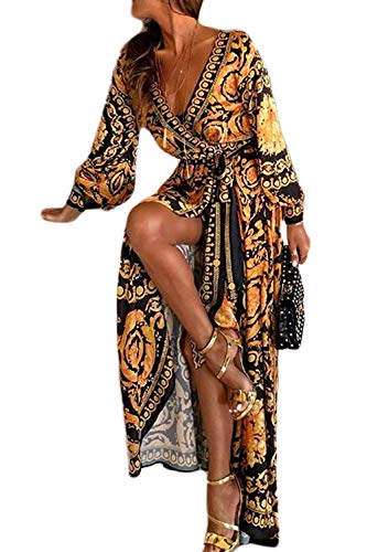 Sevozimda Damen Sommerkleid Boho Kleid Lange Ärmel Strandkleid Wickel Kimono V Ausschnitt Maxikleider Cocktailkleider gelb L
