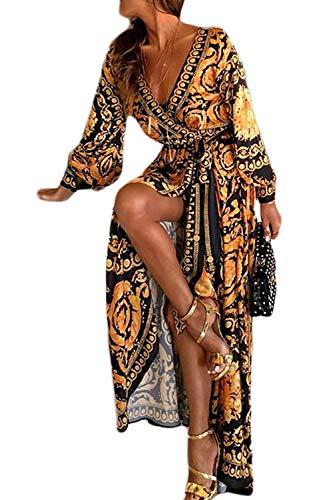 Sevozimda Damen Sommerkleid Boho Kleid Lange Ärmel Strandkleid Wickel Kimono V Ausschnitt Maxikleider Cocktailkleider gelb XL