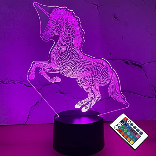 FULLOSUN Unicorn Bedside Lamp 3D Illusion Night Light,16 Colors Changing Remote Control Optical Light ,Room Decor Unique Birthday Christmas Gift for Girls Kids Toddler