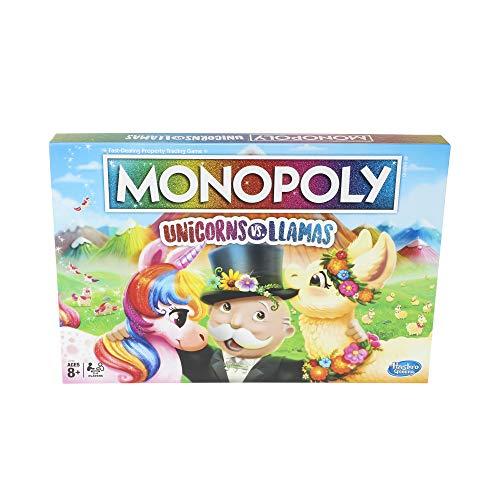 Monopoly Einhorn vs. Llamas Brettspiel ab 8 Jahren, Spielen Sie auf Team-Einhorn oder Team-Lama
