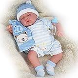 The Magic Toy Shop 20' Realistic Reborn Handmade Sleeping or Open Eyes Baby Girl / Boy Doll with Dummy & Feeding Bottle (Sleeping Boy)